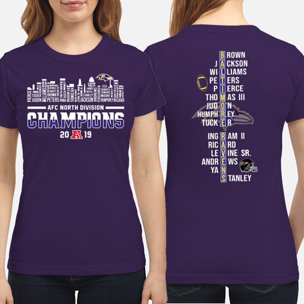 Baltimore Ravens AFC North Division Champions 2019 player name list Long sleeve