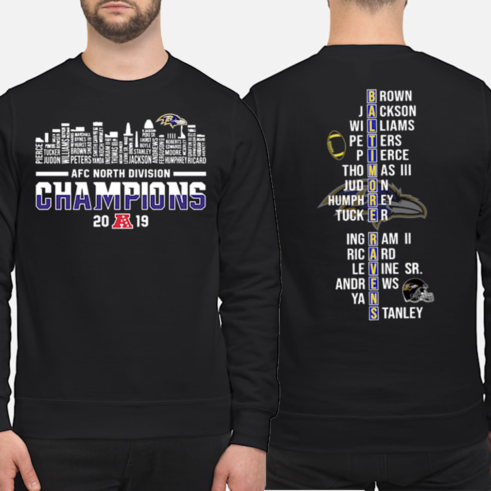Baltimore Ravens AFC North Division Champions 2019 player name list Sweater