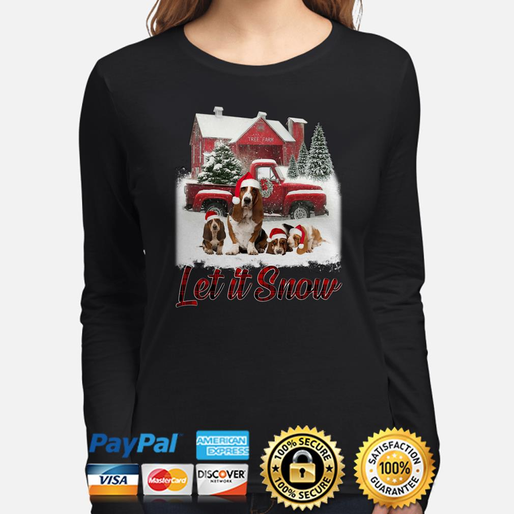Basset Hound Let It Snow Christmas long sleeve