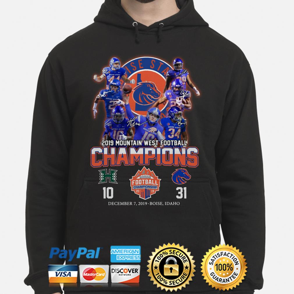 Boise State Broncos 2019 Mountain West Football Champions signature Hoodie