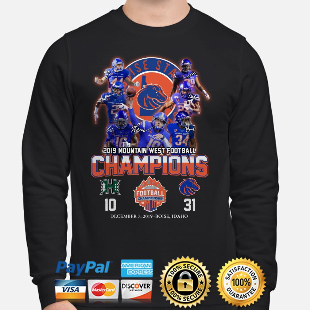 Boise State Broncos 2019 Mountain West Football Champions signature Sweater