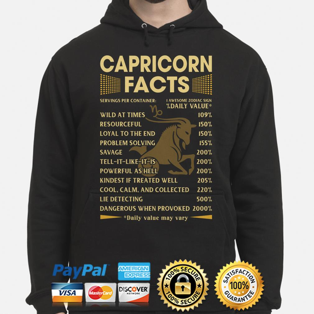 Capricorn facts servings per container Daily Value Hoodie