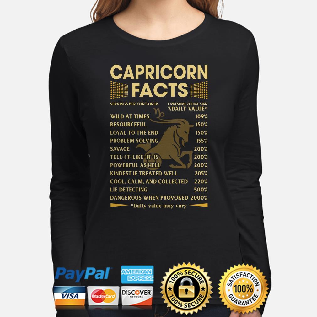 Capricorn facts servings per container Daily Value Long sleeve