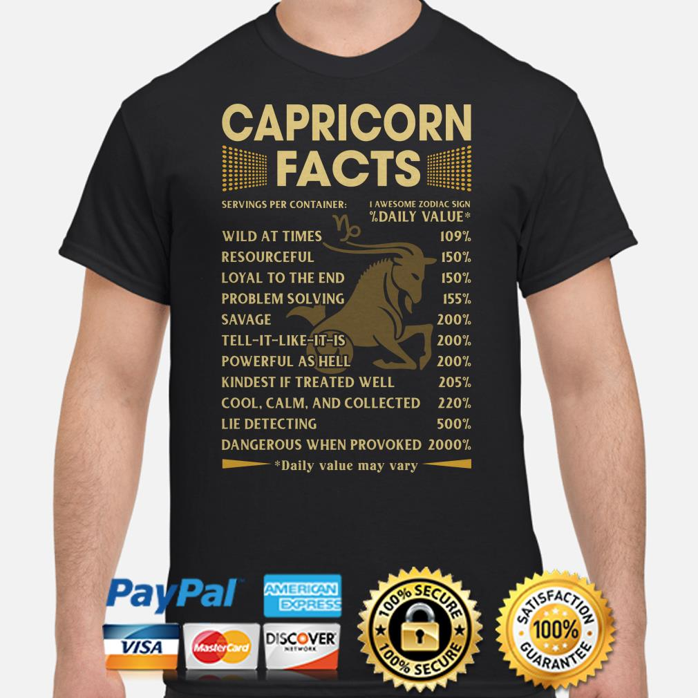 Capricorn facts servings per container Daily Value shirt