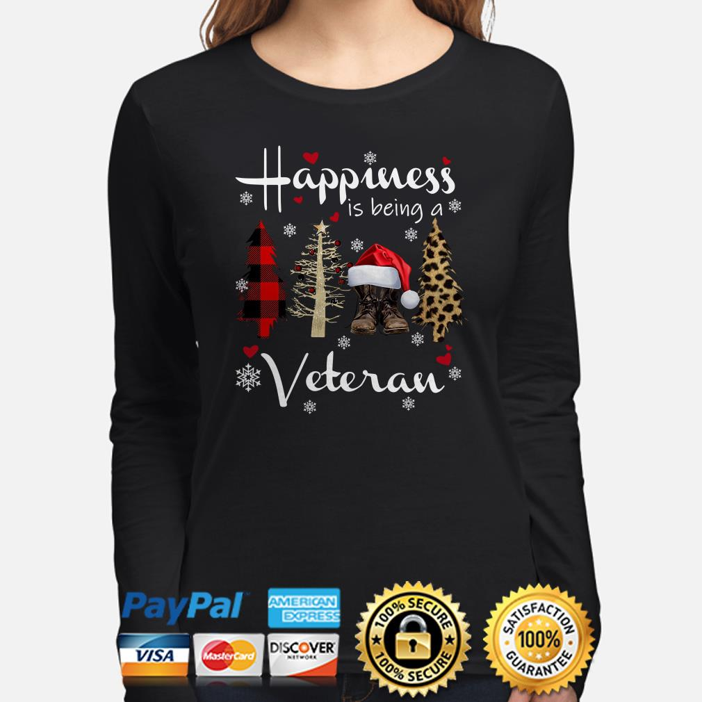 Christmas tree happiness is being a veteran long sleeve