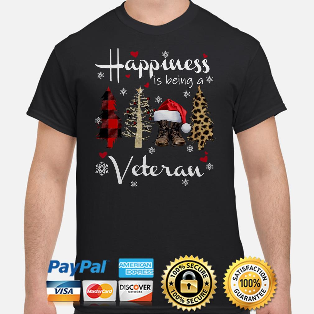 Christmas tree happiness is being a veteran t-shirt
