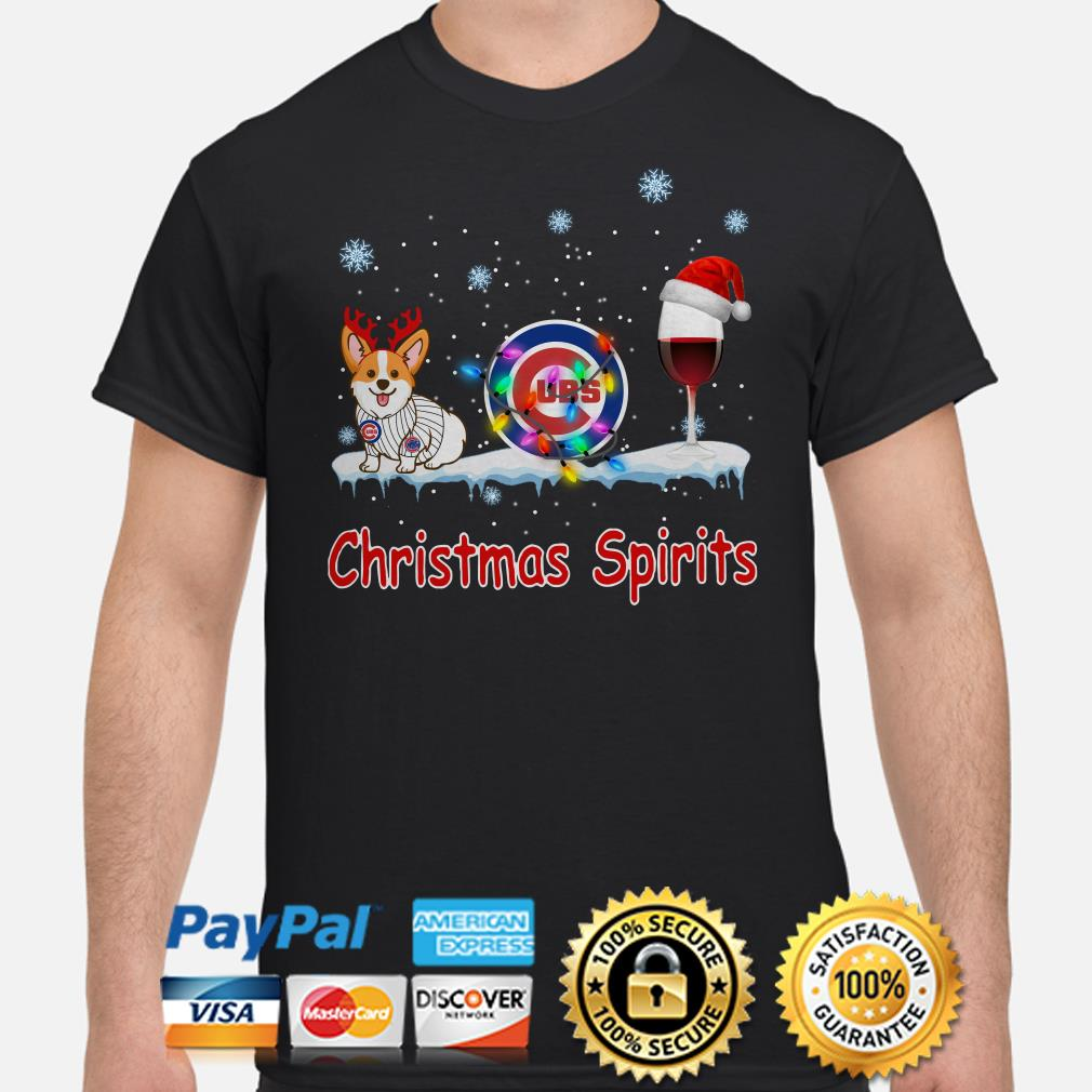 Corgi Chicago Cubs Christmas and wine spirits shirt