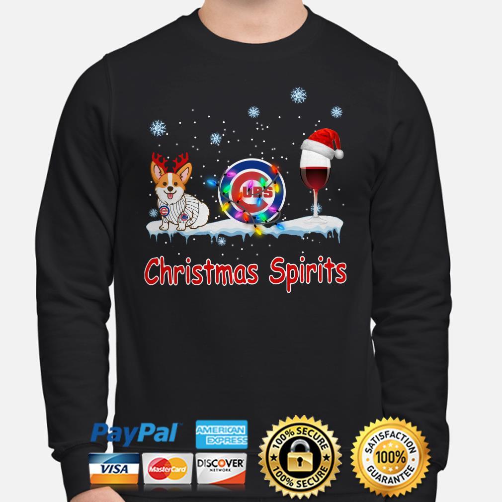Corgi Chicago Cubs Christmas and wine spirits Sweater
