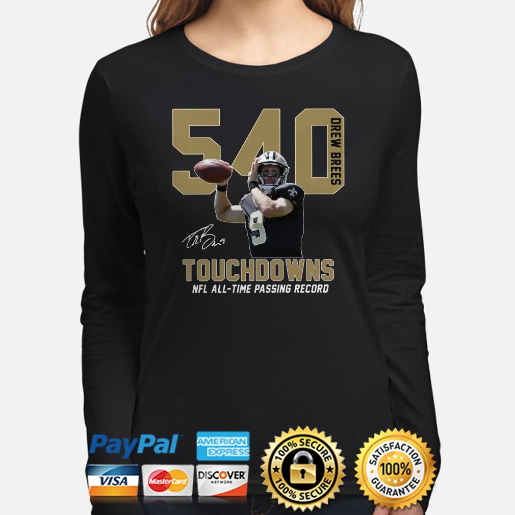 Drew Brees 540 Touchdowns NFL all-time passing record signature Long sleeve