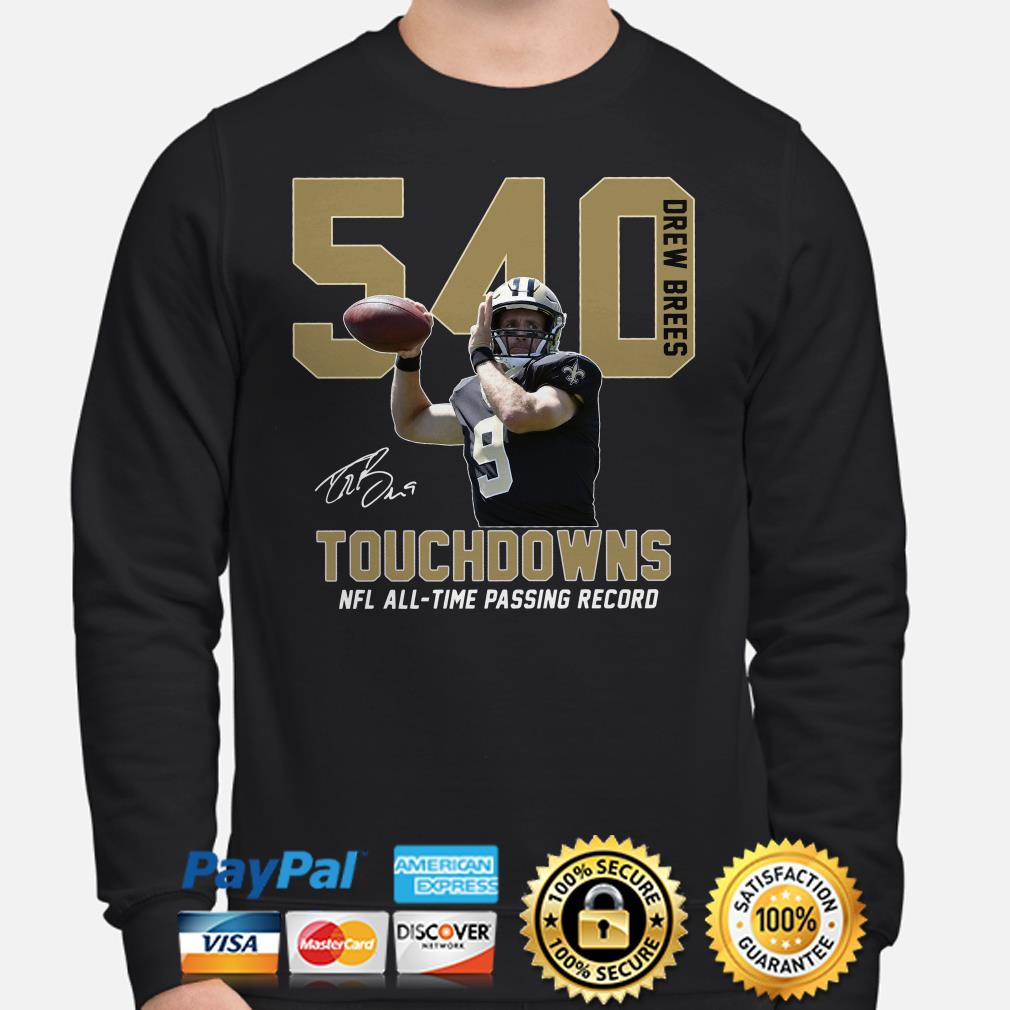 Drew Brees 540 Touchdowns NFL all-time passing record signature Sweater