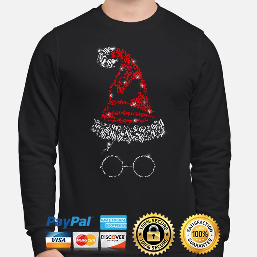 Harry Potter Santa Witch hat glass Christmas sweater