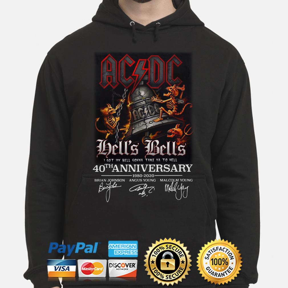 AC DC Hell's Bells 40th anniversary signature Hoodie