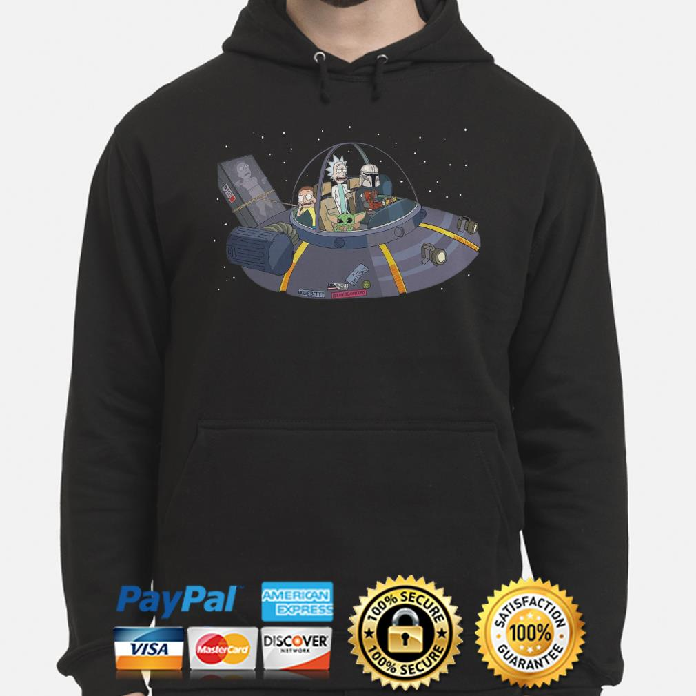 Rick and Morty, Baby Yoda, Mandalorian in the Spaceship Hoodie