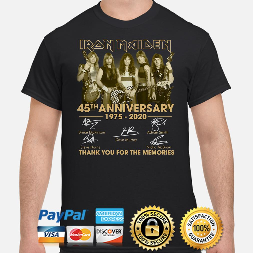 Iron Maiden 45th Anniversary thank you for the memories signature shirt
