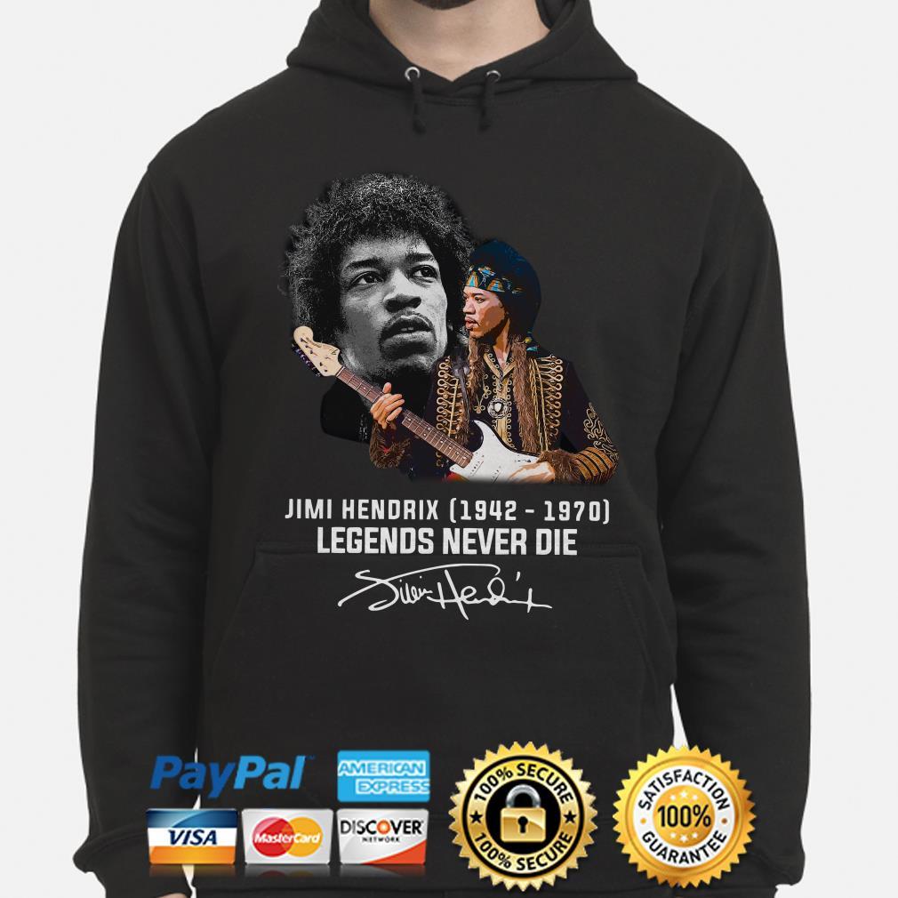 Jimi Hendrix Legends never die signature Hoodie