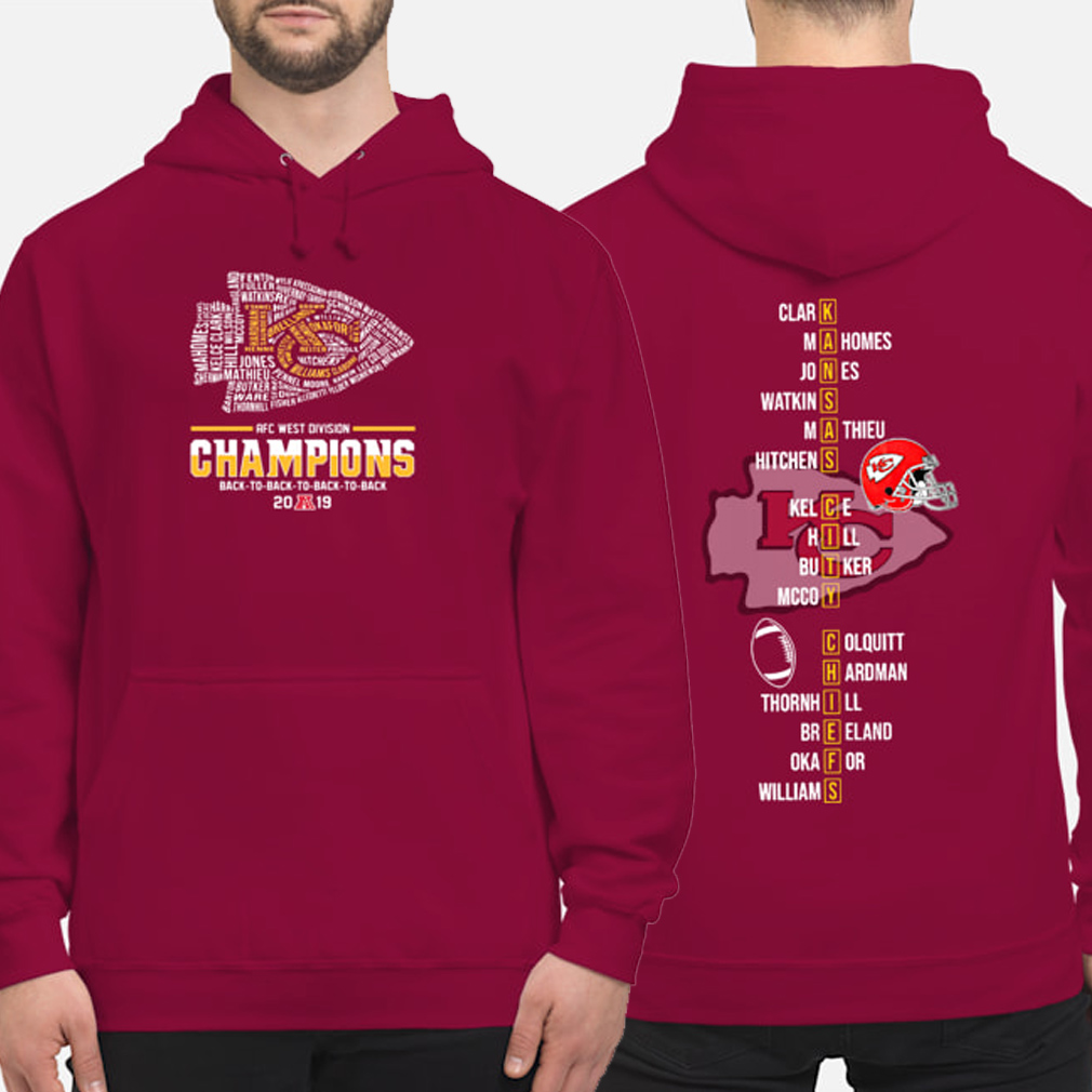 Kansas City Chiefs AFC West Division Champions 2019 players name Hoodie