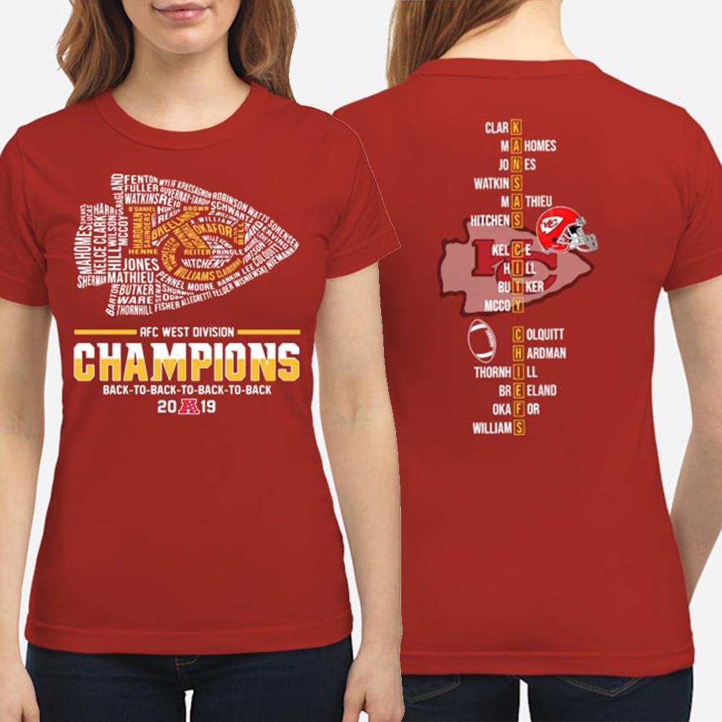 Kansas City Chiefs AFC West Division Champions 2019 players ladies shirt