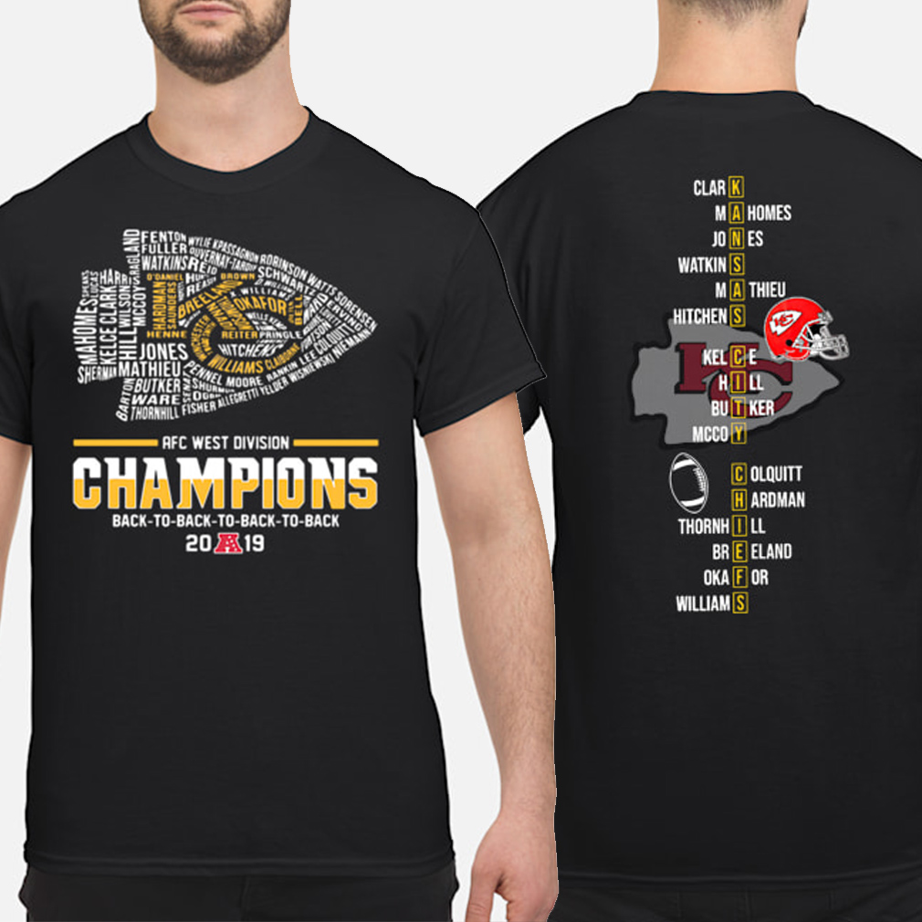 Kansas City Chiefs AFC West Division Champions 2019 players name shirt