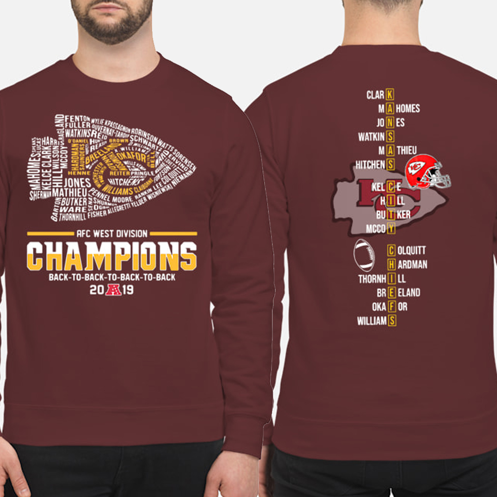 Kansas City Chiefs AFC West Division Champions 2019 players name Sweater