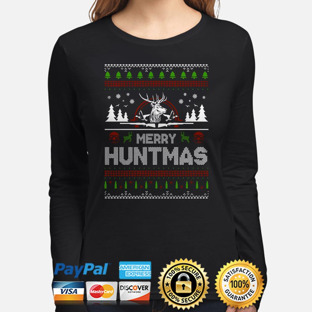 Deer Hunting Merry Huntmas ugly Christmas long sleeve