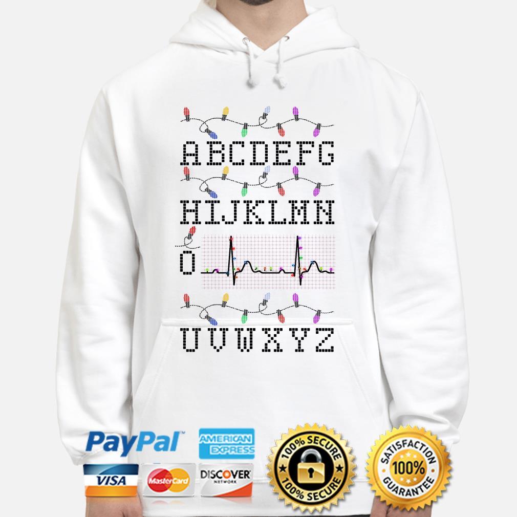 Nurse Alphabet PQRST heartbeat Christmas hoodie