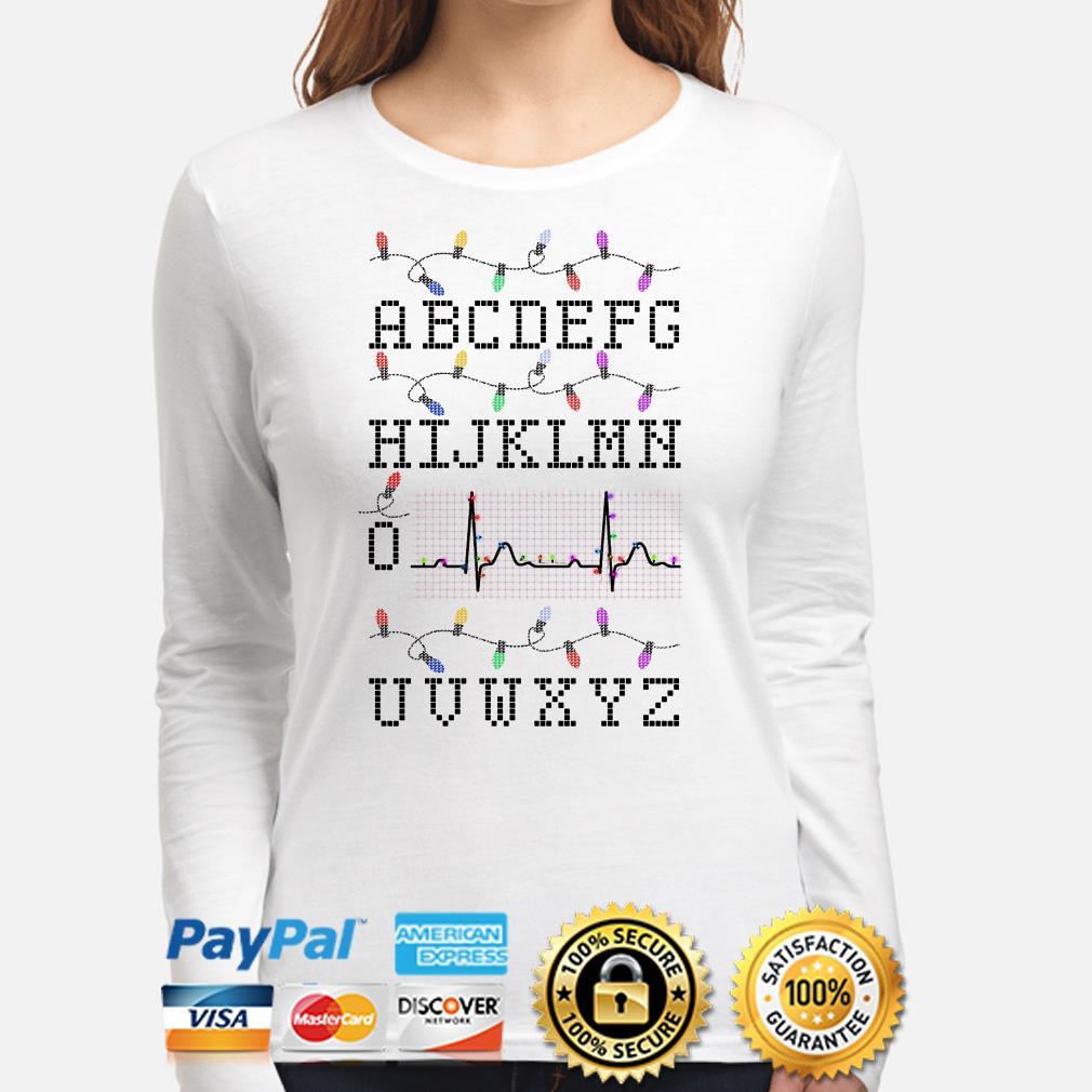 Nurse Alphabet PQRST heartbeat Christmas long sleeve