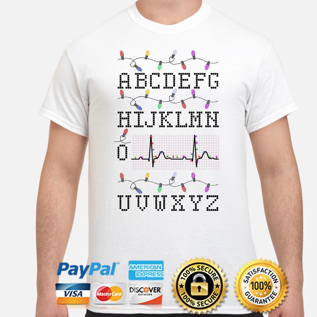 Nurse Alphabet PQRST heartbeat Christmas t-shirt