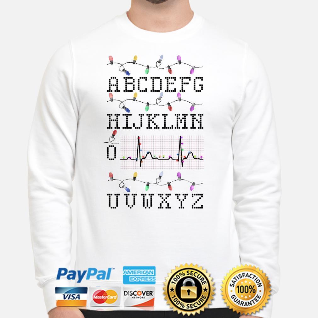 Nurse Alphabet PQRST heartbeat Christmas lights sweater