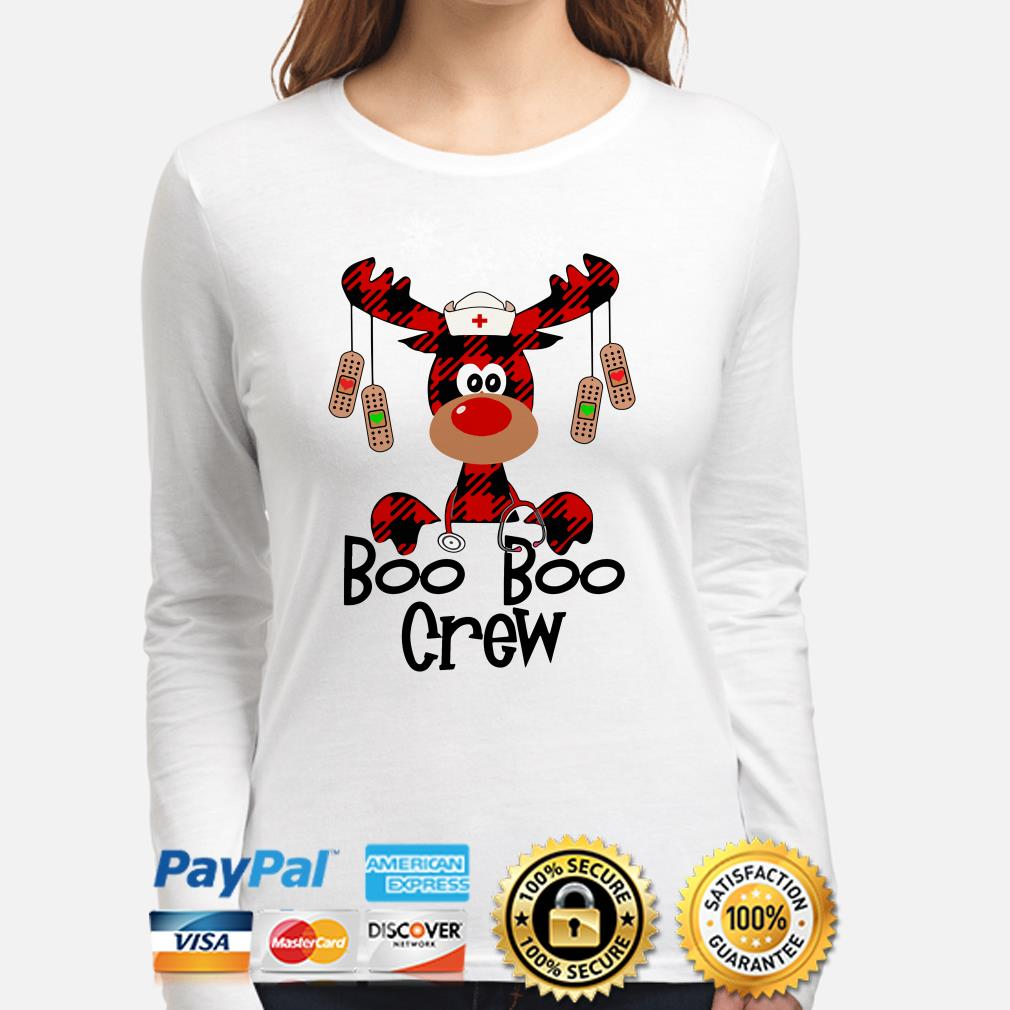 Nurse Boo Boo Crew reindeer Christmas long sleeve
