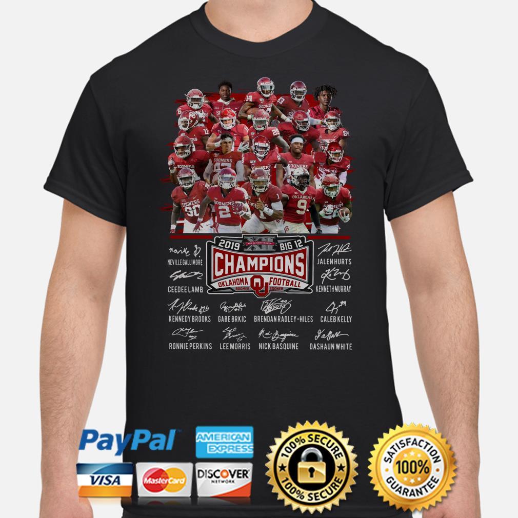 Oklahoma Sooners big 12 Champions 2019 signature shirt