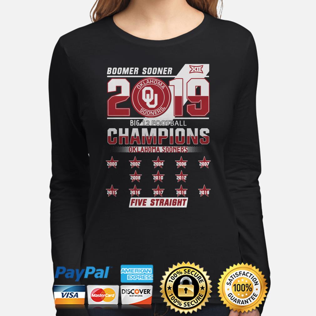 Oklahoma Sooners Boomer 2019 big 12 Champions Five Straight Long sleeve