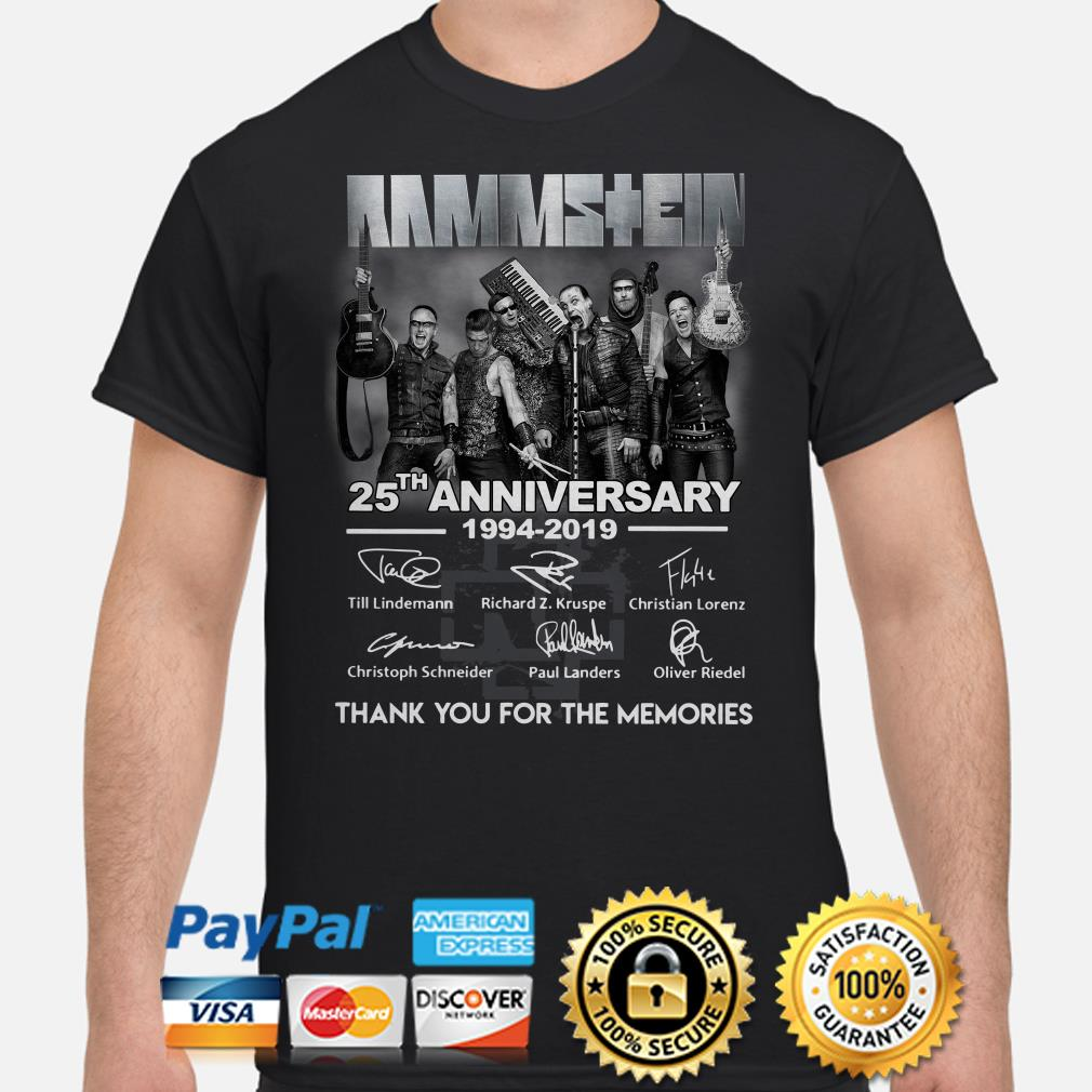 Rammstein 25th Anniversary 1994 2019 thank you for the memories shirt