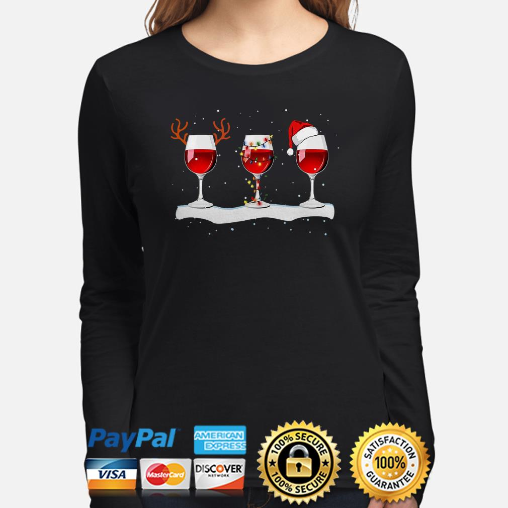Red Wine Glasses Christmas long sleeve