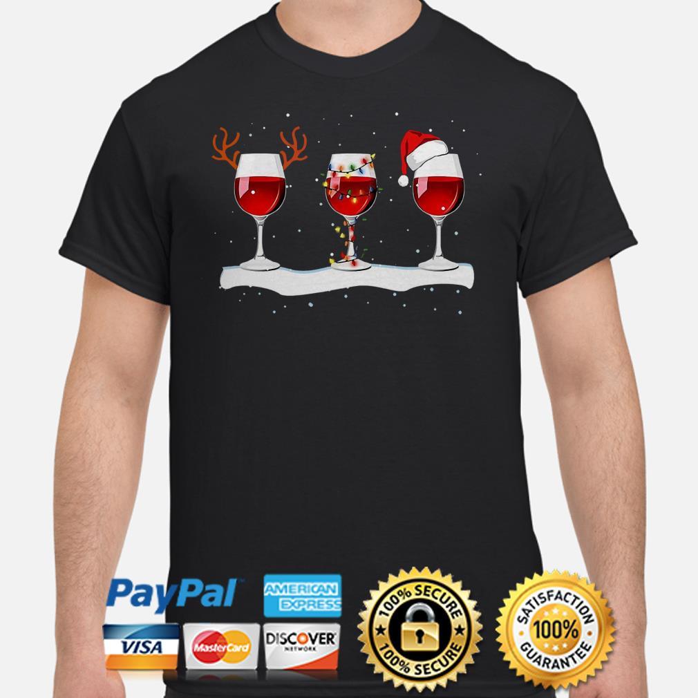 Red Wine Glasses Christmas t-shirt