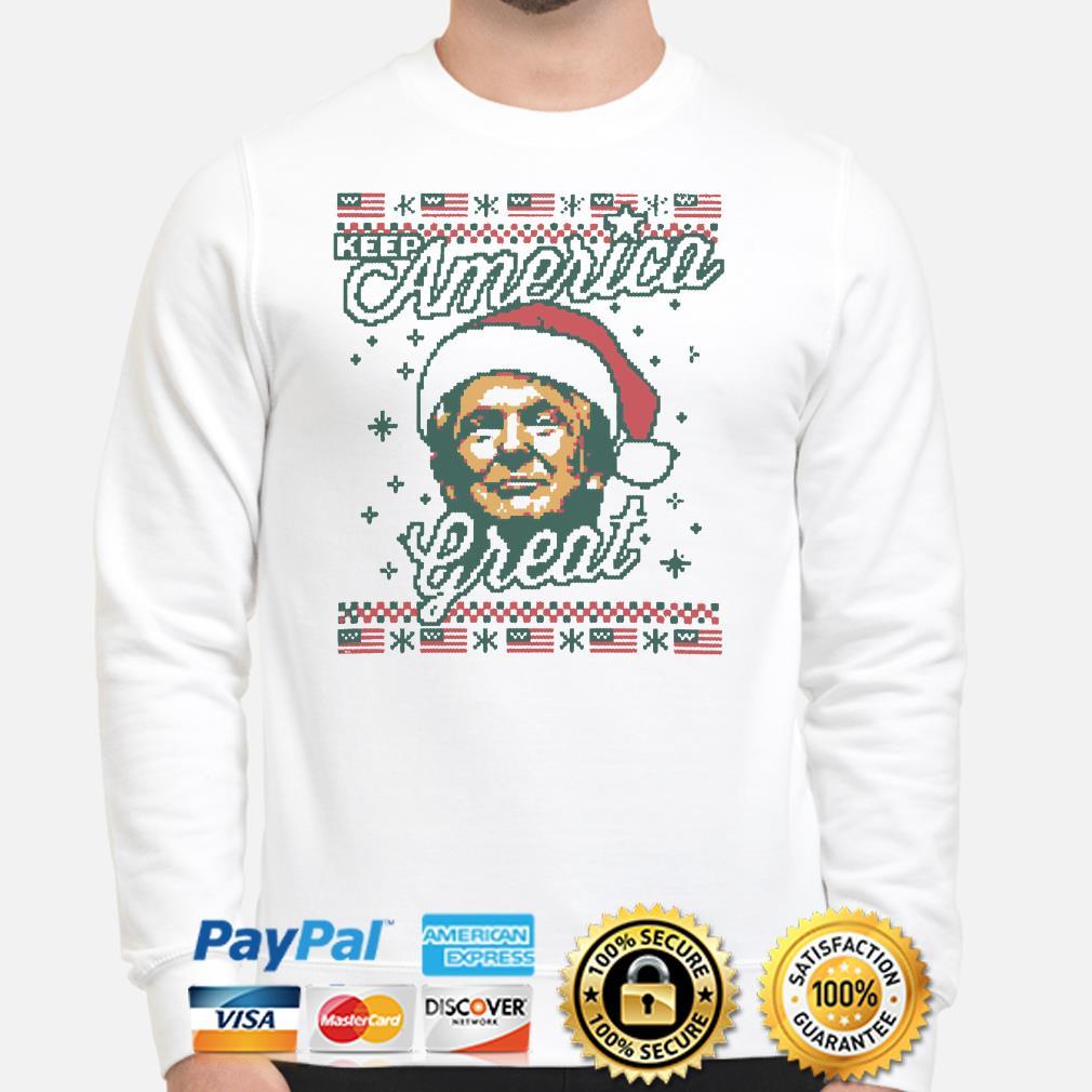 Santa Trump keep America Great ugly Christmas sweater
