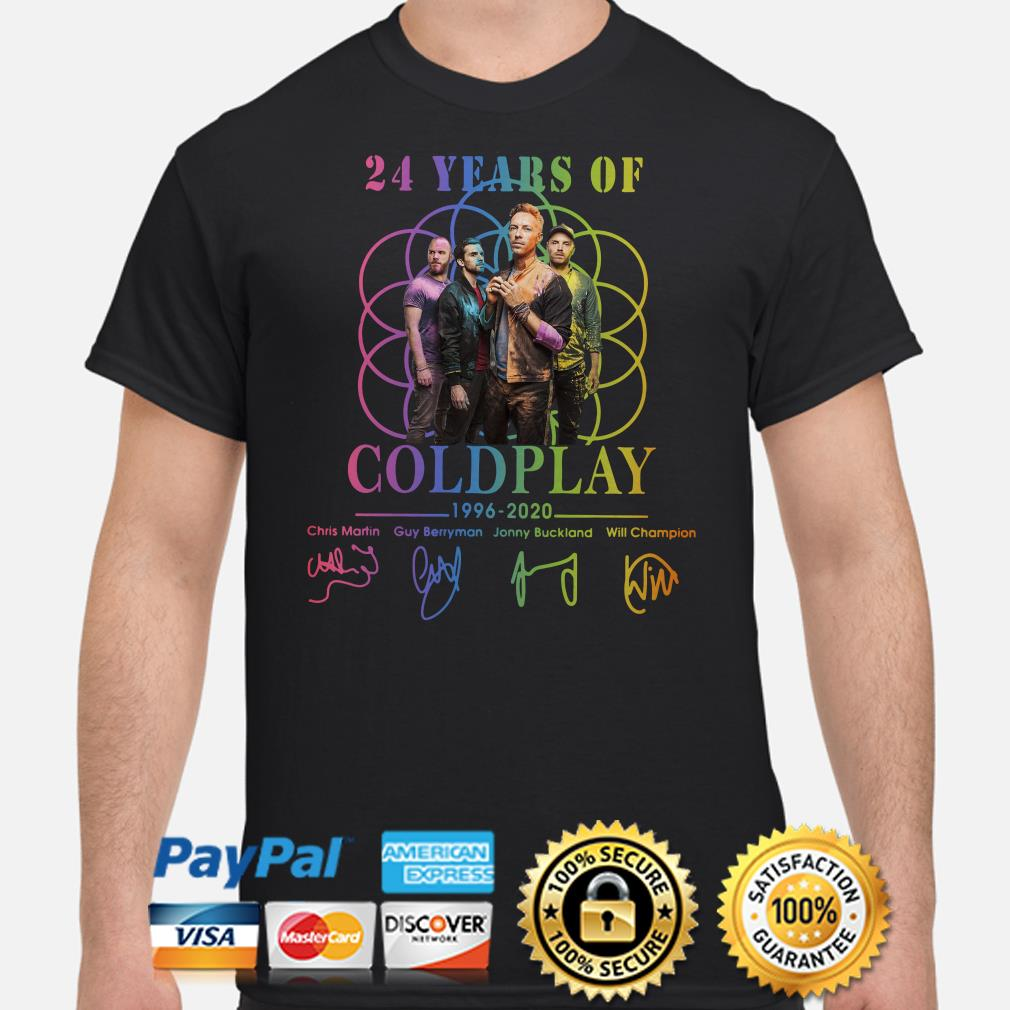 24 years of Coldplay 1996 2020 signatures shirt