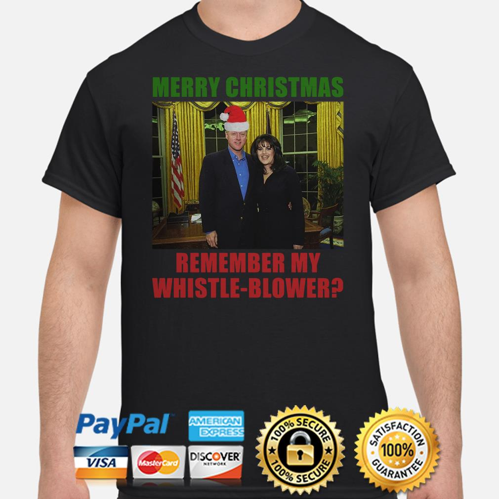 Bill Clinton and Monica Lewinsky Merry Christmas remember my whistle-blower shirt