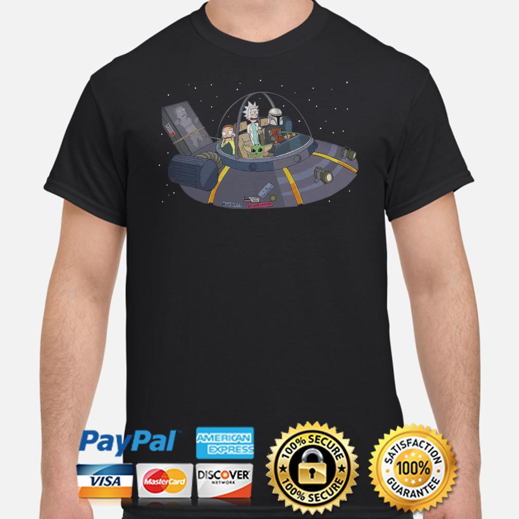 Rick and Morty, Baby Yoda, Mandalorian in the Spaceship shirt