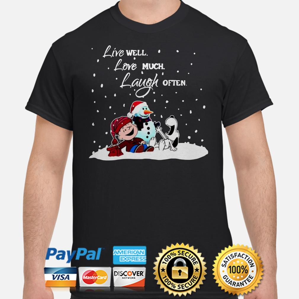 Snoopy Charlie Brown Live well love much laugh often Christmas t-shirt