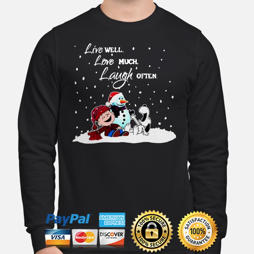 Snoopy Charlie Brown Live well love much laugh often Christmas Sweater