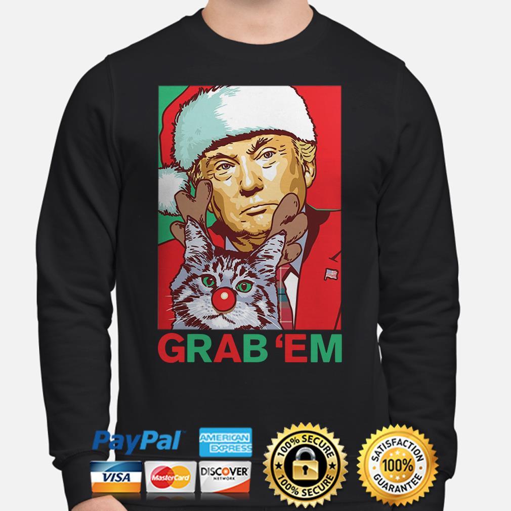 Donald Trump and cat Grab Em Christmas sweater