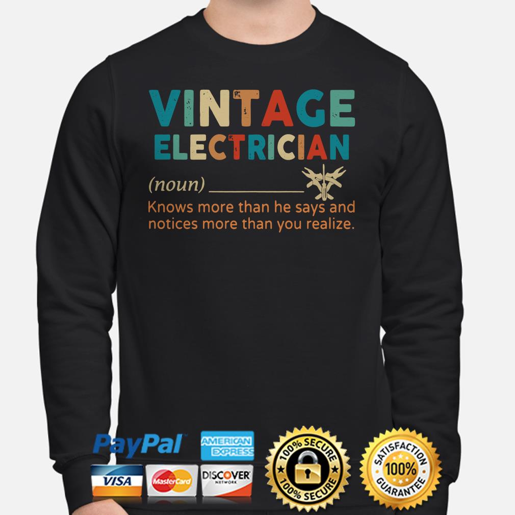 Vintage electriccian knows more than he say and notices more than you realize Sweater
