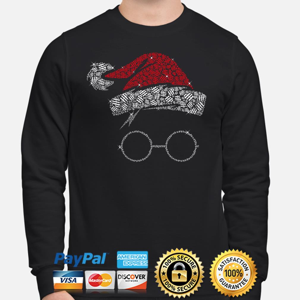 Santa hat Harry Potter glass diamonds Christmas sweater