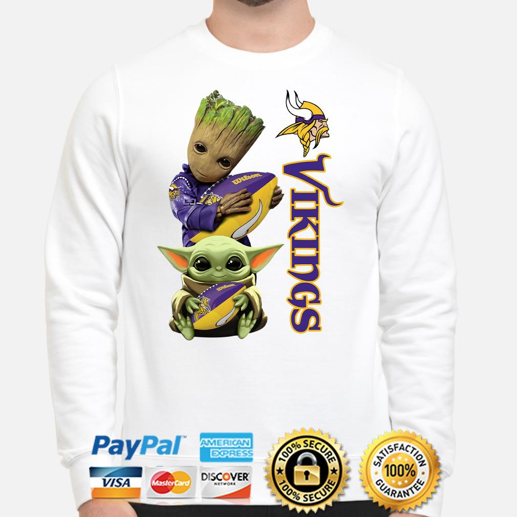 Baby Groot and Baby Yoda hug Minnesota Vikings Sweater