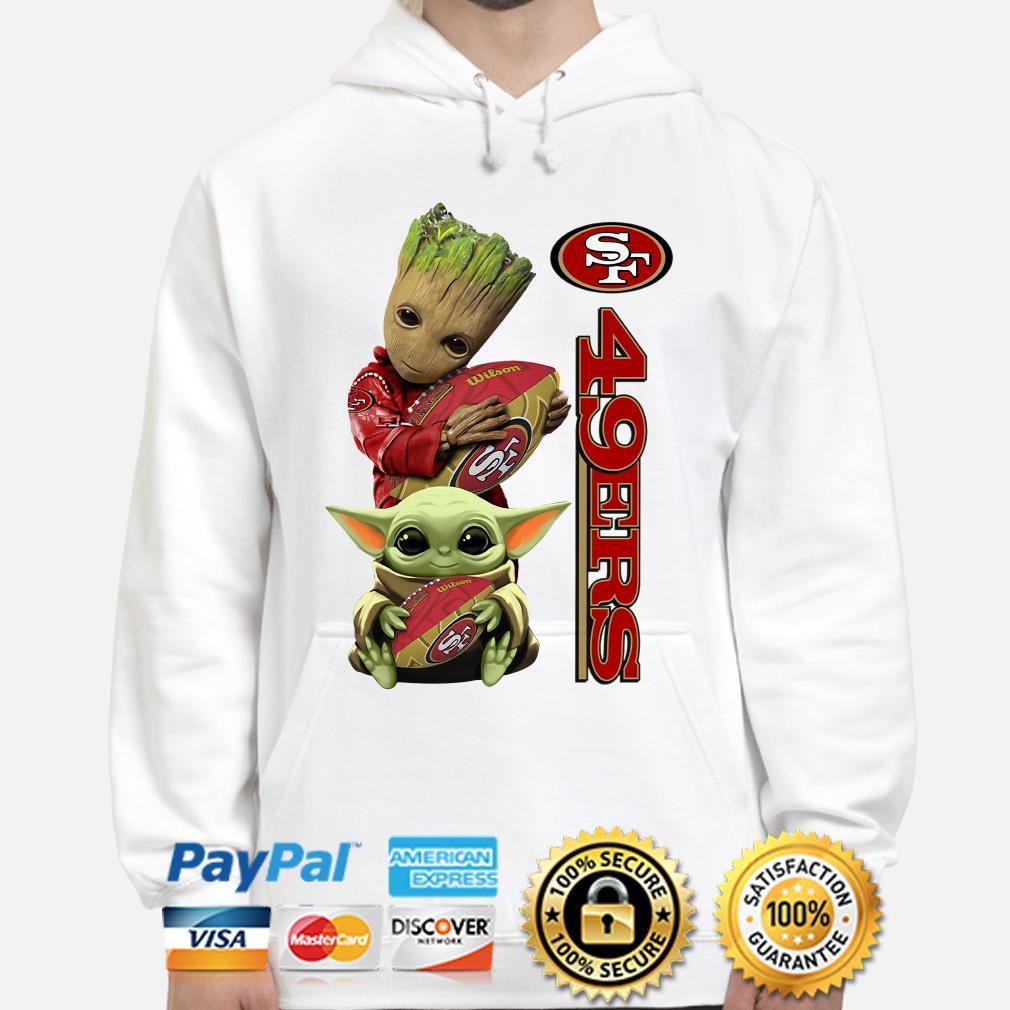 Baby groot and Baby Yoda hug San Francisco 49ers Hoodie