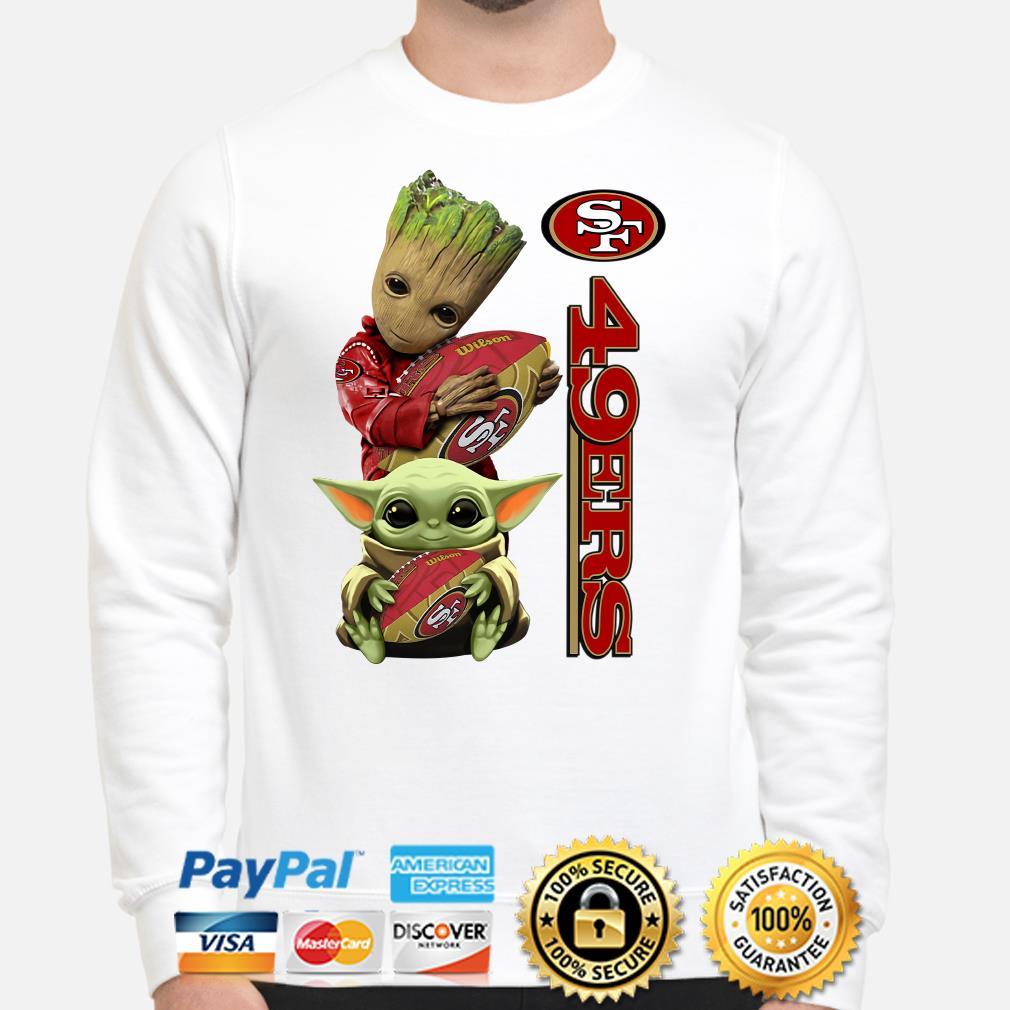 Baby groot and Baby Yoda hug San Francisco 49ers Sweater