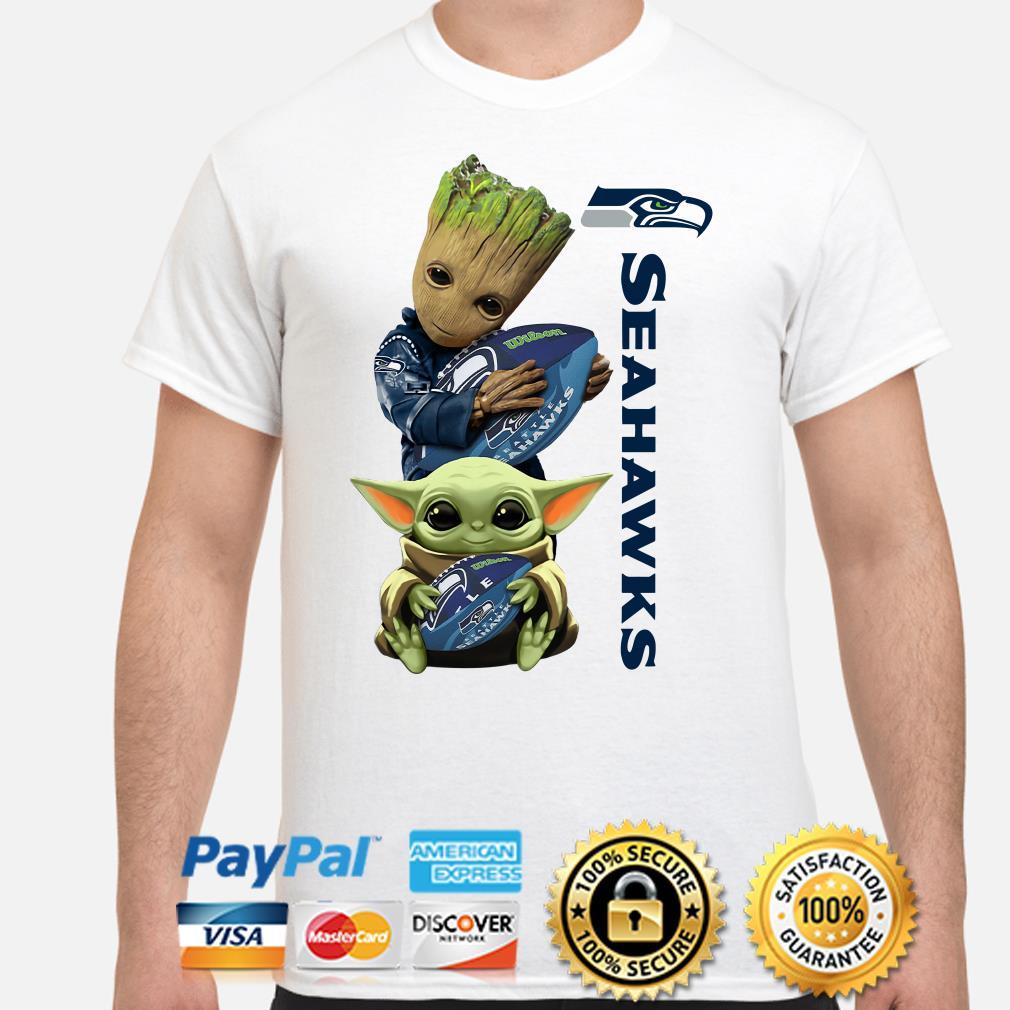 Baby Groot and Baby Yoda hug Seahawks Seattle shirt