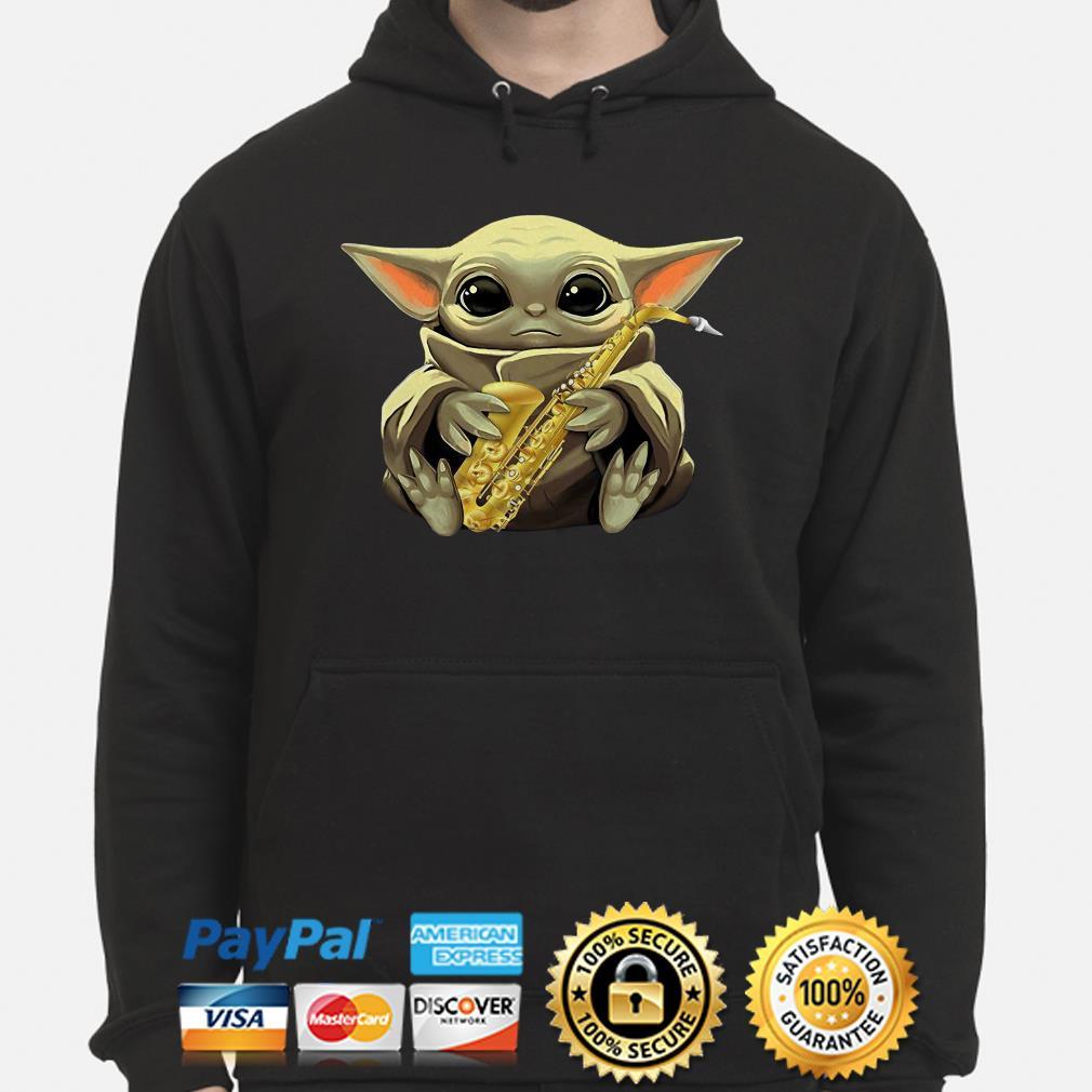 Baby Yoda Hug Saxophone hoodie