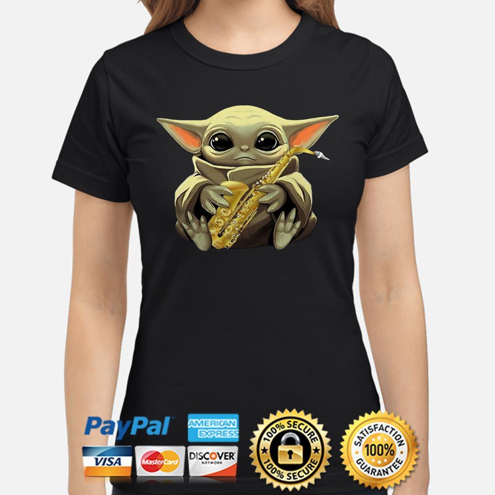 Baby Yoda Hug Saxophone ladies shirt