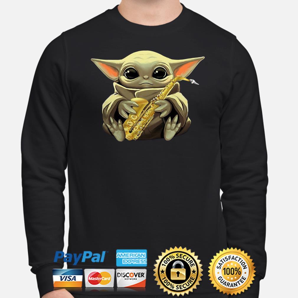 Baby Yoda Hug Saxophone sweater